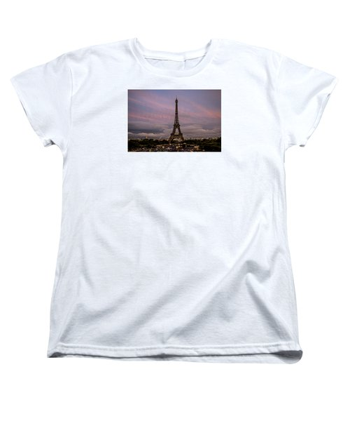 The Eiffel Tower At Sunset Women's T-Shirt (Standard Cut) by Jean Haynes