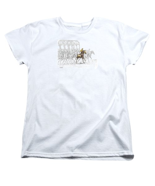 Women's T-Shirt (Standard Cut) featuring the drawing The Favorite - Thoroughbred Race Print Color Tinted by Kelli Swan