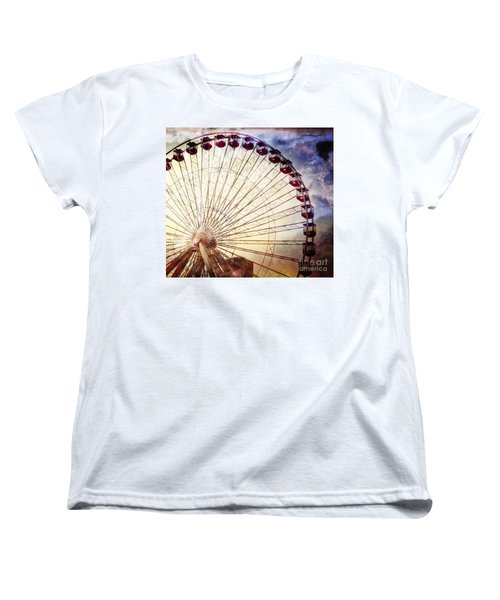 The Ferris Wheel At Navy Pier Women's T-Shirt (Standard Cut) by Mary Machare