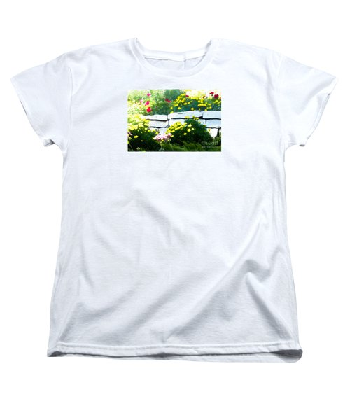 Women's T-Shirt (Standard Cut) featuring the digital art The Garden Wall by David Blank