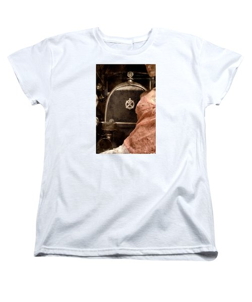 Women's T-Shirt (Standard Cut) featuring the photograph The Girl On The Background Of Vintage Car. by Andrey  Godyaykin