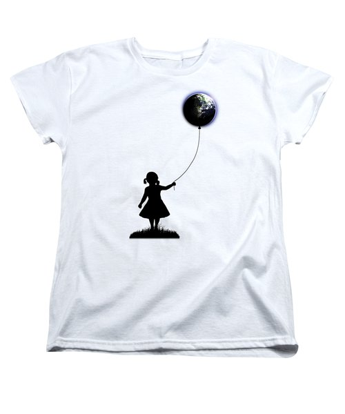 The Girl That Holds The World - White  Women's T-Shirt (Standard Cut) by Nicklas Gustafsson