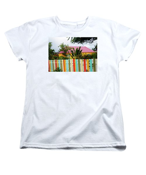 Women's T-Shirt (Standard Cut) featuring the photograph The Happy House, Island Of Curacao by Kurt Van Wagner