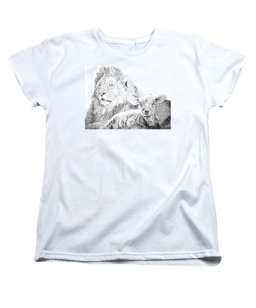 The Lion And The Lamb Women's T-Shirt (Standard Cut) by Bryan Bustard