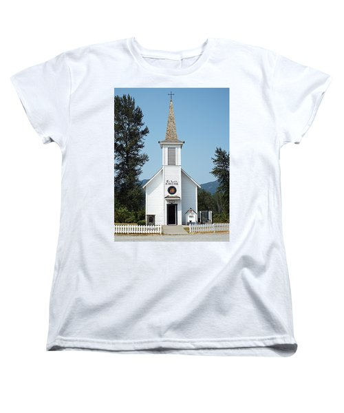 Women's T-Shirt (Standard Cut) featuring the photograph The Little White Church In Elbe by Joseph Hendrix