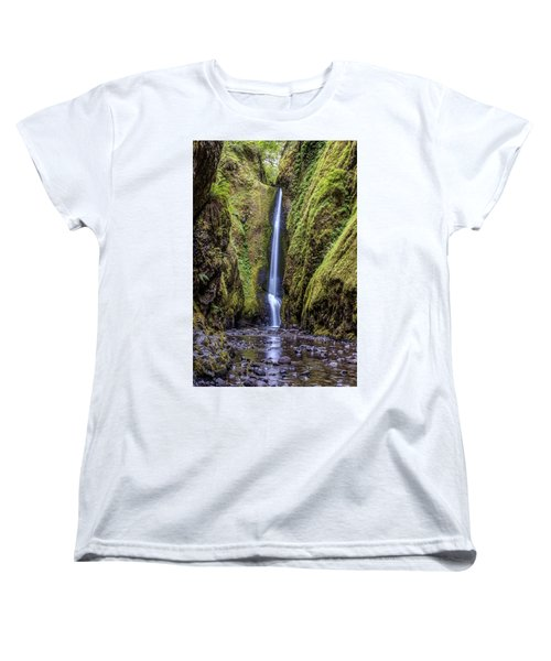 Women's T-Shirt (Standard Cut) featuring the photograph The Lush And Green Lower Oneonta Falls by Pierre Leclerc Photography