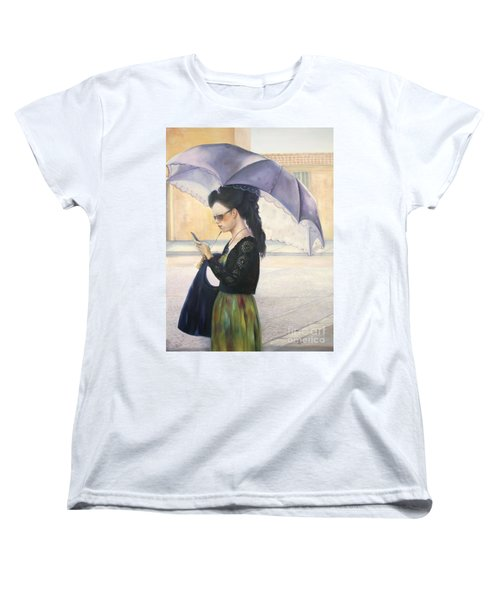 Women's T-Shirt (Standard Cut) featuring the painting The Message by Marlene Book