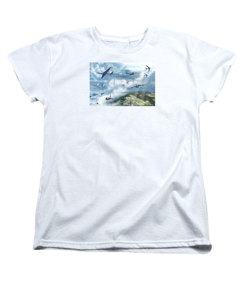 Women's T-Shirt (Standard Cut) featuring the painting The Mighty Loring A F B by Dave Luebbert