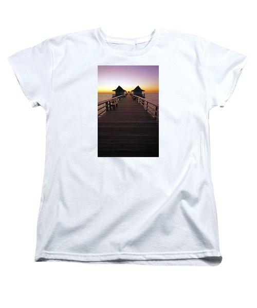 The Naples Pier At Twilight Women's T-Shirt (Standard Cut) by Robb Stan