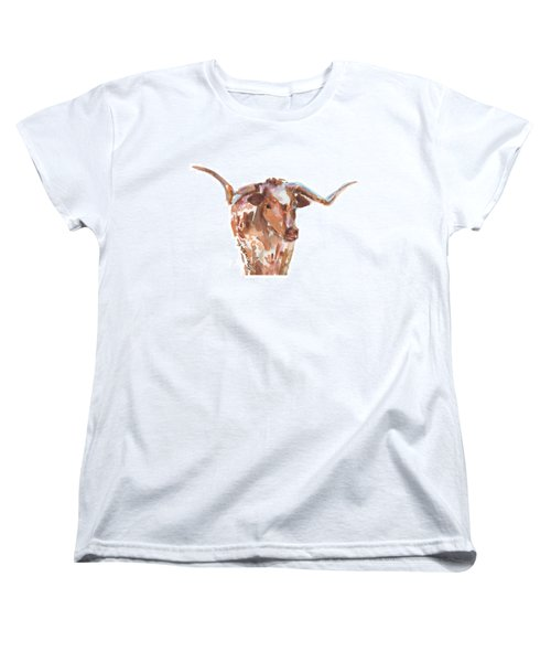 The Original Longhorn Standing Earth Quack Watercolor Painting By Kmcelwaine Women's T-Shirt (Standard Cut) by Kathleen McElwaine