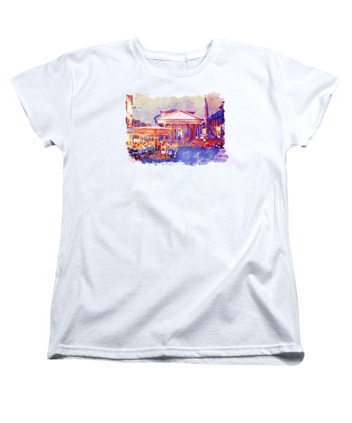 The Pantheon Rome Watercolor Streetscape Women's T-Shirt (Standard Fit)