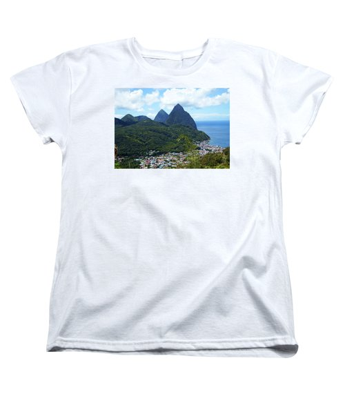 Women's T-Shirt (Standard Cut) featuring the photograph The Pitons, St. Lucia by Kurt Van Wagner