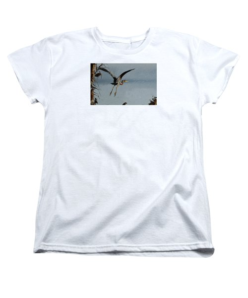 The Purple Heron Women's T-Shirt (Standard Cut) by Manjot Singh Sachdeva