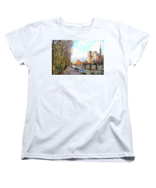Women's T-Shirt (Standard Cut) featuring the photograph The Seine And Quay Beside Notre Dame, Autumn by Felipe Adan Lerma