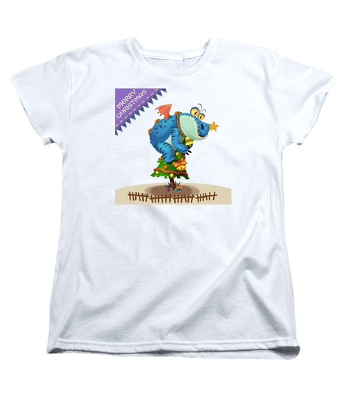The Sloth Dragon Monster Comes To Wish You Merry Christmas Women's T-Shirt (Standard Cut)