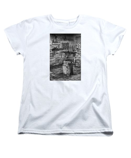 Women's T-Shirt (Standard Cut) featuring the photograph The Smithy's Work Awaits by William Fields