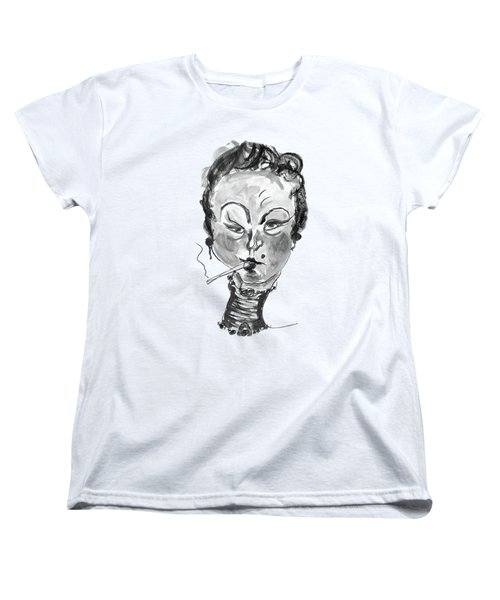 Women's T-Shirt (Standard Cut) featuring the mixed media The Smoker - Black And White by Marian Voicu