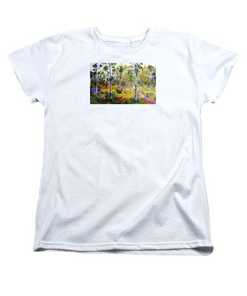 Women's T-Shirt (Standard Cut) featuring the painting The Teak Garden by Jason Sentuf