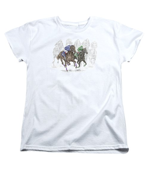 The Thunder Of Hooves - Horse Racing Print Color Women's T-Shirt (Standard Cut) by Kelli Swan