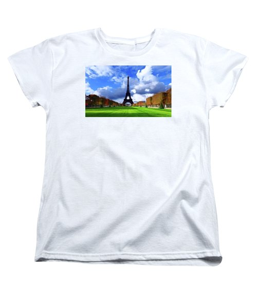 Women's T-Shirt (Standard Cut) featuring the painting The Tower Paris by David Dehner