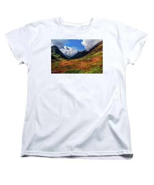 The Valley Of Three Sisters. Glencoe. Scotland Women's T-Shirt (Standard Cut) by Jenny Rainbow
