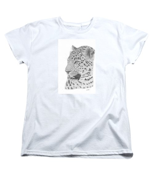 Women's T-Shirt (Standard Cut) featuring the drawing The Watchful Leopard by Patricia Hiltz