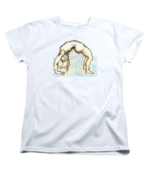 Women's T-Shirt (Standard Cut) featuring the mixed media The Wheel - Yoga Poses by Carolyn Weltman