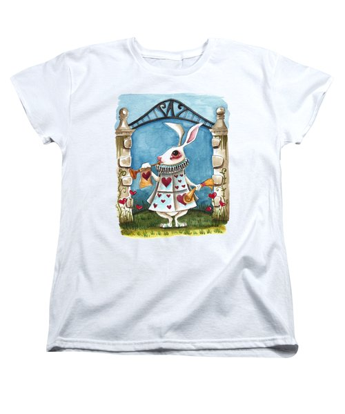 The White Rabbit Announcing Women's T-Shirt (Standard Cut) by Lucia Stewart