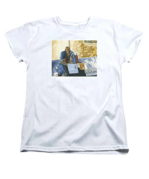 Women's T-Shirt (Standard Cut) featuring the painting The Wineseller by Marlene Book