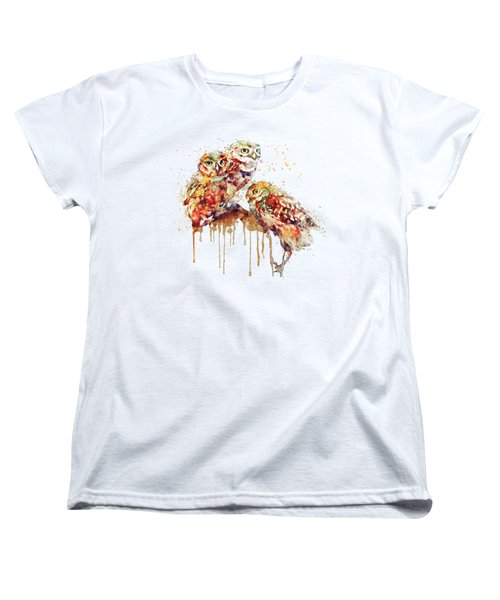 Three Cute Owls Watercolor Women's T-Shirt (Standard Cut) by Marian Voicu