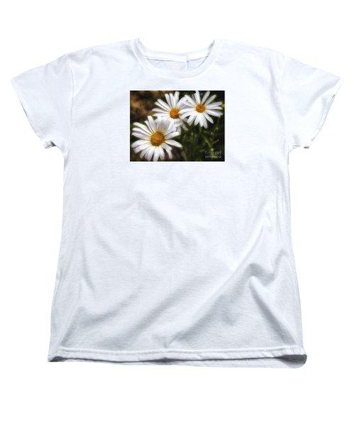 Women's T-Shirt (Standard Cut) featuring the photograph Three Flowers  ... by Chuck Caramella