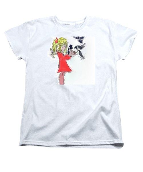 Three For A Girl - Work In Women's T-Shirt (Standard Cut) by John Edwards