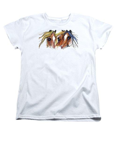 Three Horses Talking Women's T-Shirt (Standard Cut) by Stacey Mayer
