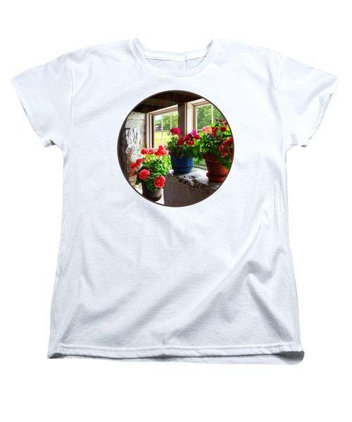 Three Pots Of Geraniums On Windowsill Women's T-Shirt (Standard Cut)