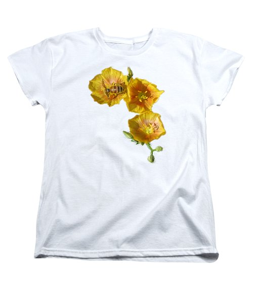 Women's T-Shirt (Standard Cut) featuring the photograph Three Yellow Flowers With A Bee by Linda Phelps