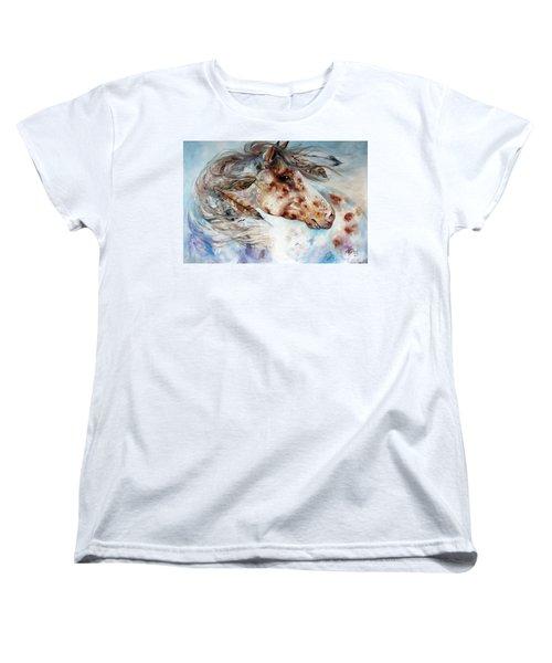 Thunder Appaloosa Indian War Horse Women's T-Shirt (Standard Cut) by Marcia Baldwin