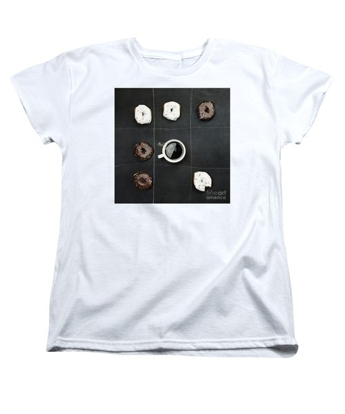 Tic Tac Toe Donuts And Coffee Women's T-Shirt (Standard Cut) by Stephanie Frey
