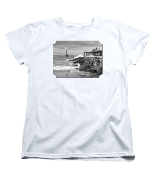 Tide's Turning - Black And White - Southwold Pier Women's T-Shirt (Standard Cut) by Gill Billington