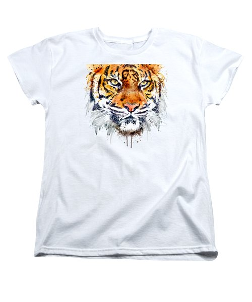 Women's T-Shirt (Standard Cut) featuring the mixed media Tiger Face Close-up by Marian Voicu