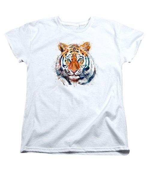 Tiger Head Watercolor Women's T-Shirt (Standard Fit)