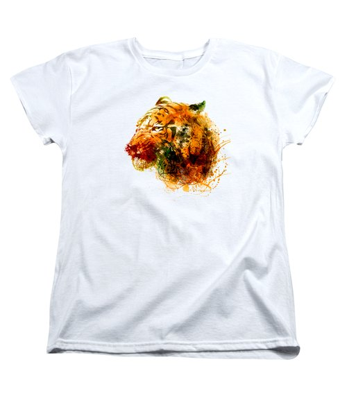 Tiger Side Face Women's T-Shirt (Standard Cut) by Marian Voicu