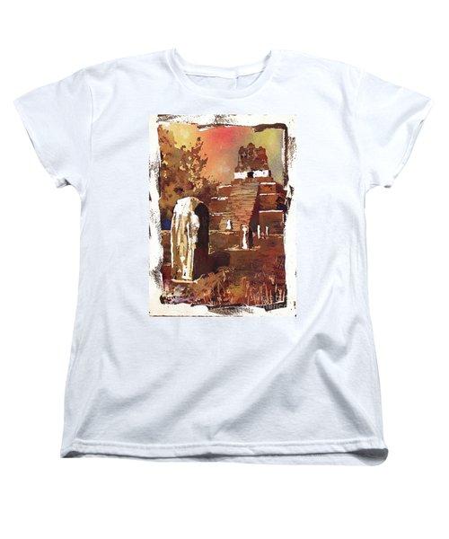 Women's T-Shirt (Standard Cut) featuring the painting Tikal Mayan Ruins- Guatemala by Ryan Fox