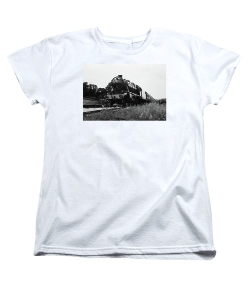 Women's T-Shirt (Standard Cut) featuring the photograph Time Travel By Steam B/w by Martin Howard