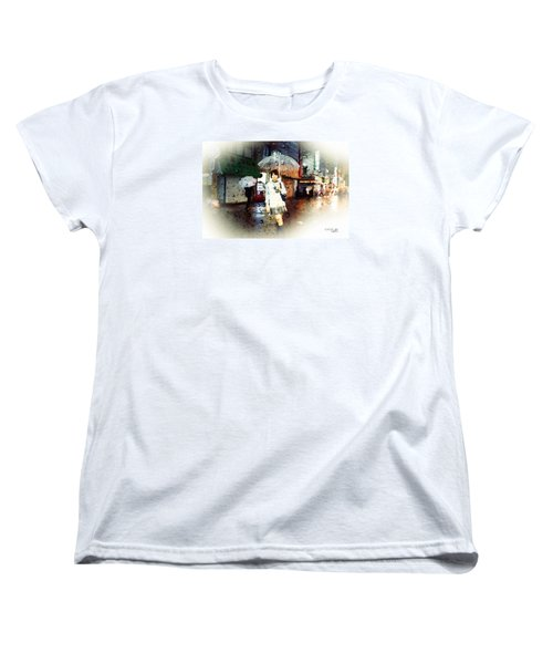 Women's T-Shirt (Standard Cut) featuring the painting Rainytokyo Night by Chris Armytage