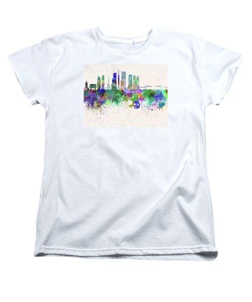 Tokyo V3 Skyline In Watercolor Background Women's T-Shirt (Standard Cut)