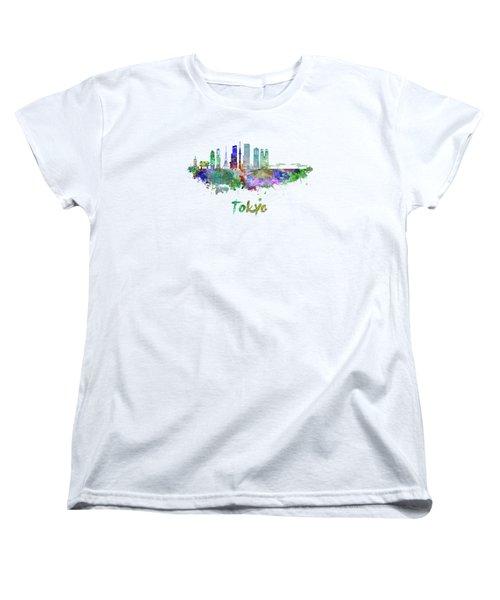 Tokyo V3 Skyline In Watercolor Women's T-Shirt (Standard Cut)