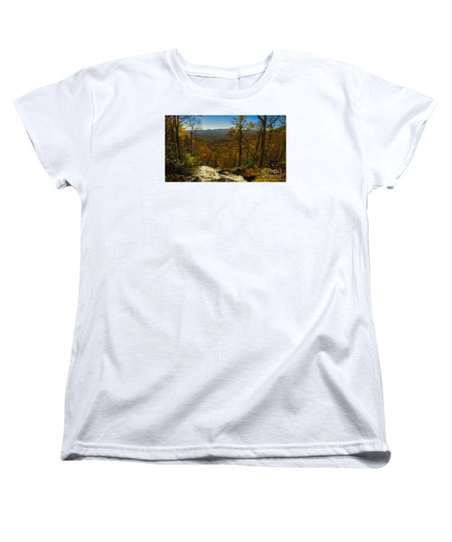 Women's T-Shirt (Standard Cut) featuring the photograph Top Of Amicola Falls by Barbara Bowen
