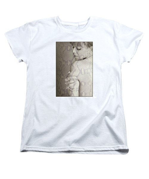 Women's T-Shirt (Standard Cut) featuring the photograph Topless Woman Holding Her Arm by Michael Edwards