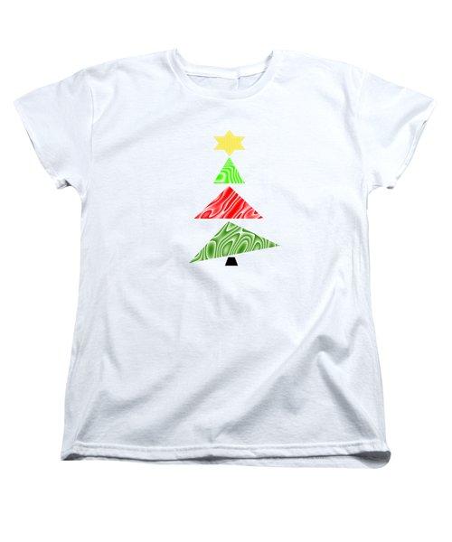 Topsy Turvy Christmas Tree Women's T-Shirt (Standard Cut) by Kathleen Sartoris