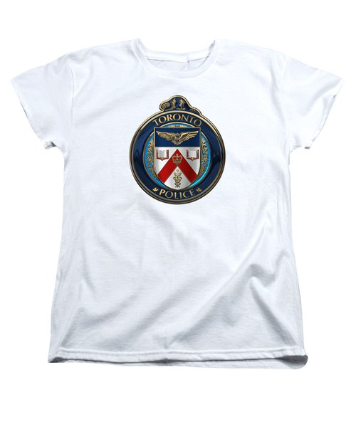 Women's T-Shirt (Standard Cut) featuring the digital art Toronto Police Service  -  T P S  Emblem Over White Leather by Serge Averbukh